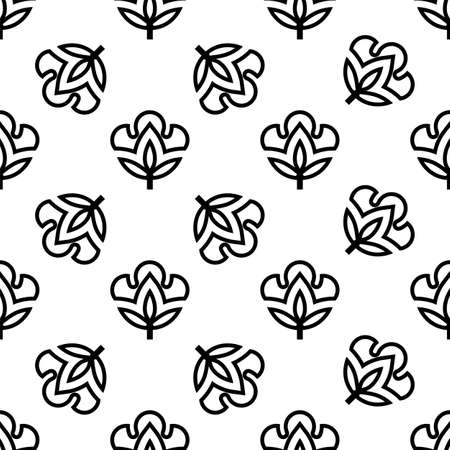 Cotton Flower Icon Seamless Pattern, Cotton Ball, Cotton Fiber Seamless Pattern Vector Art Illustration Illustration