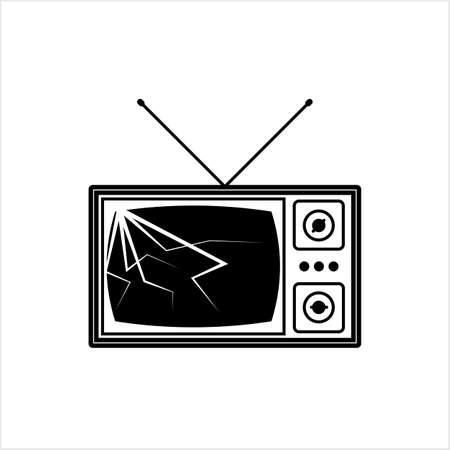 Cracked Tv Screen Icon Vector Art Illustration