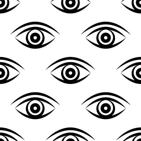 Eye Icon Seamless Pattern Vector Art Illustration