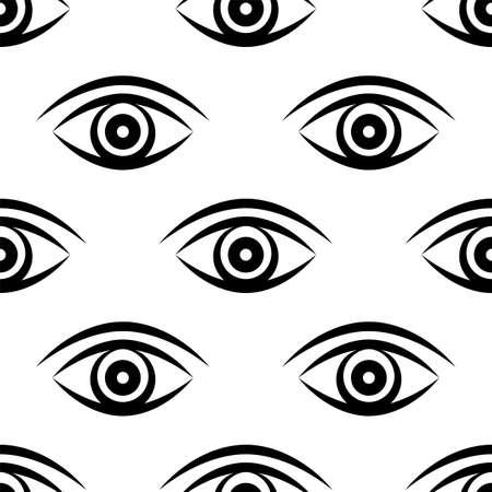 Eye Icon Seamless Pattern Vector Art Illustration