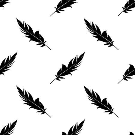 Feather Icon Seamless Pattern Vector Art Illustration Ilustração