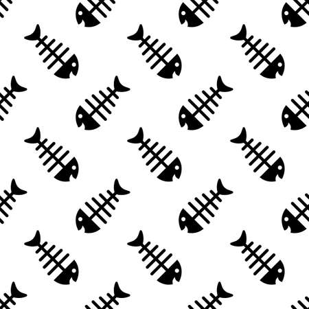 Fish Bone Icon Seamless Pattern Vector Art Illustration