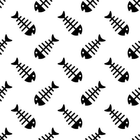 Fish Bone Icon Seamless Pattern Vector Art Illustration