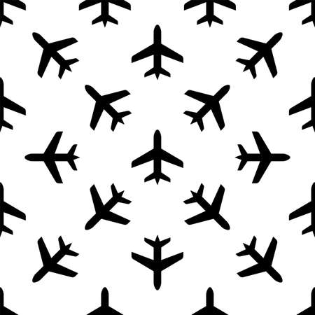 Airplane Icon Seamless Pattern Vector Art Illustration