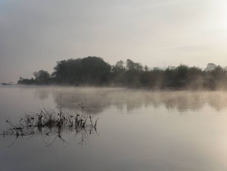 Early morning. River. Fog creeps on the surface of the water surface. Summer landscape.