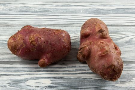 Two ugly pimply potatoes on a light wooden table. The concept of ugly vegetables. Closeup. Horizontal orientation.