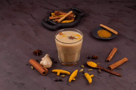 Masala tea or Karak chai. Set ingredients for popular Indian drinks.