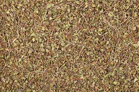 Dried Thyme leaves, close-up, top view. Herbal green medicinal tea, natural food background.