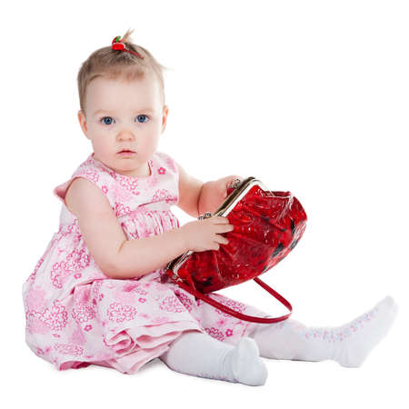little girl with shopping bag photo
