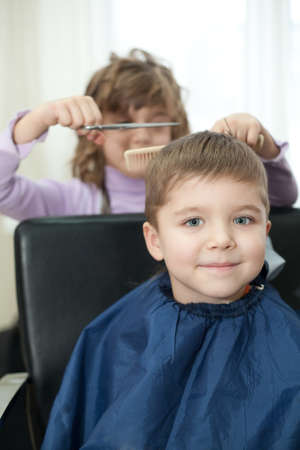children play in the barbershop Stock Photo - 12163260