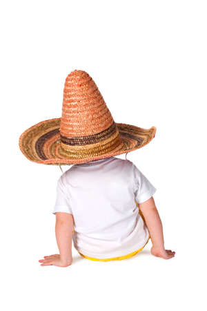 little boy in sombrero isolated on white
