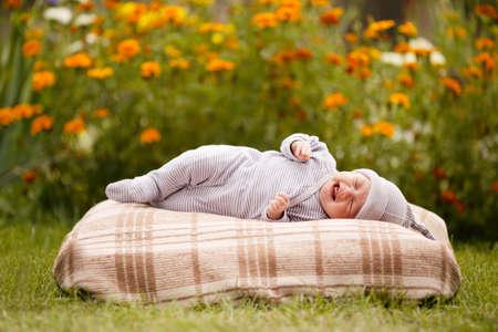 little sweet sleeping baby outdoors Stock Photo - 17495363