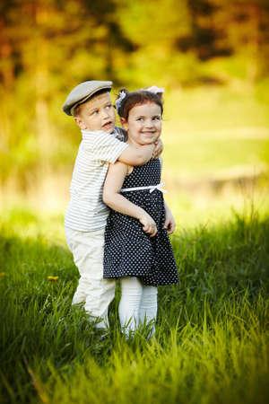 happy boy and girl photo