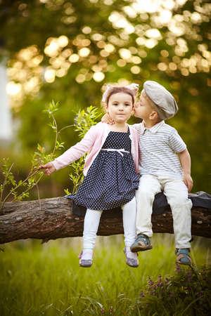 cute little boy: boy kissed girl