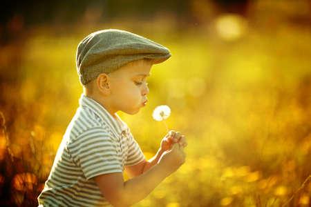 cute little boy with dandelions Reklamní fotografie