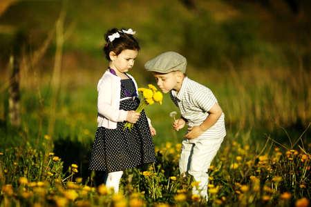 beautiful girl face: cute boy and girl Stock Photo