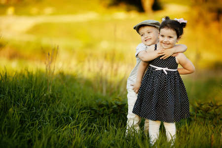 family health: happy boy and girl