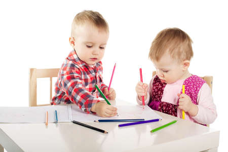 boy and girl draw with pencils Stock Photo - 18096587