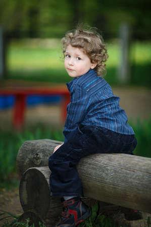 little boy on summer playground Stock Photo - 18096581