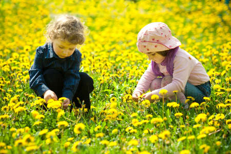 boy and girl in flowers photo