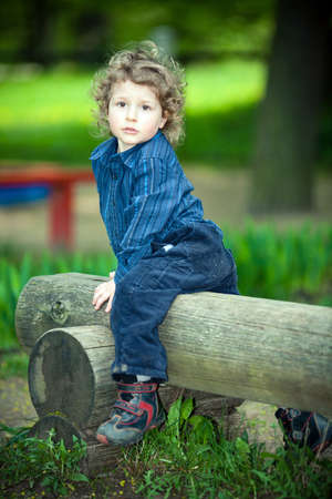 little boy on a playground Stock Photo - 18350786