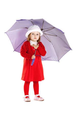 little girl with umbrella isolated photo