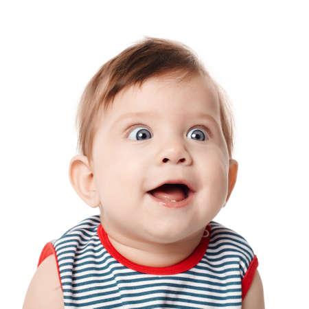 cara sorprendida: Hermosa expresivo feliz adorable beb� sonriente lindo Foto de archivo