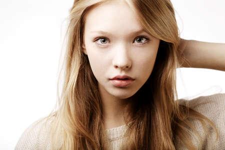 beautiful teen girl portrait isolated on white Stockfoto