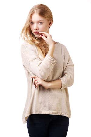 beautiful teen girl portrait isolated on white Stock Photo