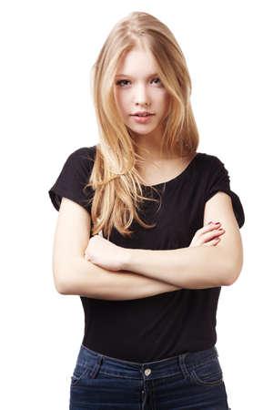 白で隔離される美しい十代の少女の肖像画 写真素材