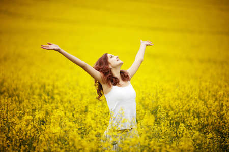 freedom park: young beautiful girl in the field Stock Photo