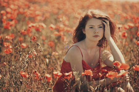 young red haired beautiful girl in poppy field Imagens