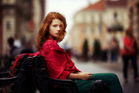 dingy: young beautiful girl Stock Photo