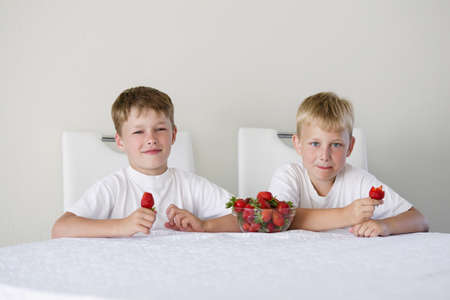 little funny boy with strawberries Stock Photo - 21454879