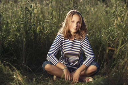 young beautiful girl bright portrait photo