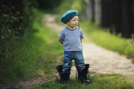 funny little boy in uniform Stockfoto