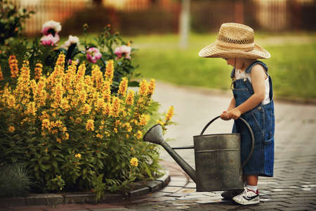 watering plants: cute little boy watering flowers watering can Stock Photo
