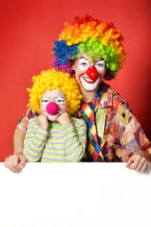 big and little funny clowns photo photo