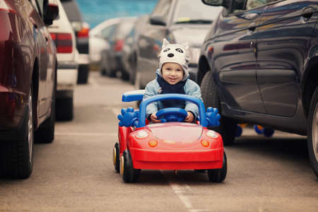 cute little boy on parking