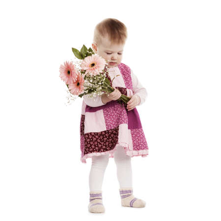 modest: little beautiful modest girl with flowers