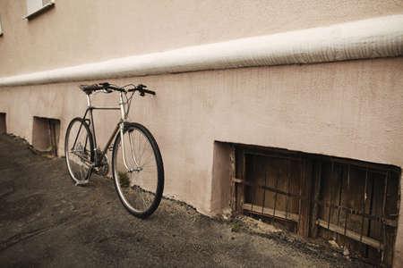 old vintage bike on the street photo
