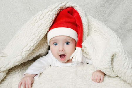cute baby in Santa hat photo