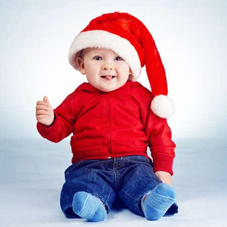 cute little boy with santa hat