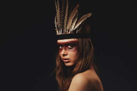 girl in image original inhabitants of America Stock Photo