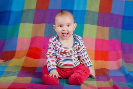 cute little boy portrait on colorful background photo