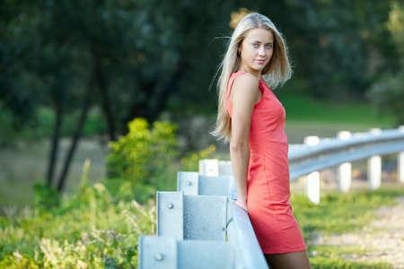 blond girl: beautiful blond girl sensual portrait on location