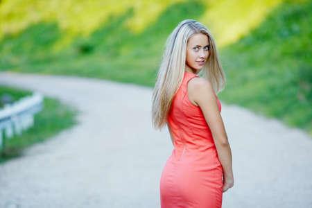 beautiful blond girl sensual portrait on location photo
