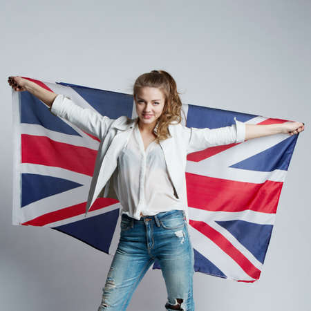 beautiful girl with the flag of Britain