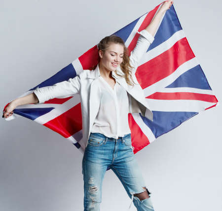 union: beautiful girl with the flag of Britain