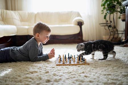 kleine Junge spielt mit Katze Schach auf dem Boden liegend